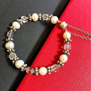 🖤Pearl Crystal Silver bracelet